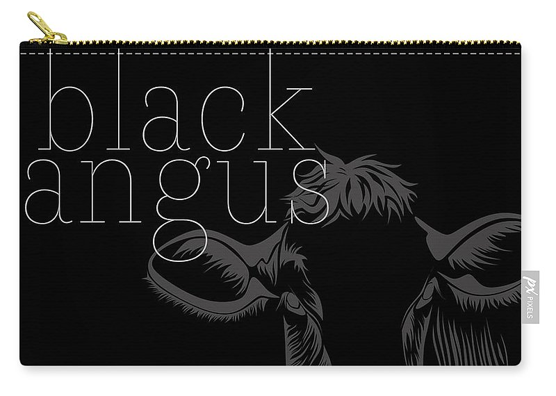 Cows Carry-all Pouch featuring the digital art Black Angus by Erika LeMunyon