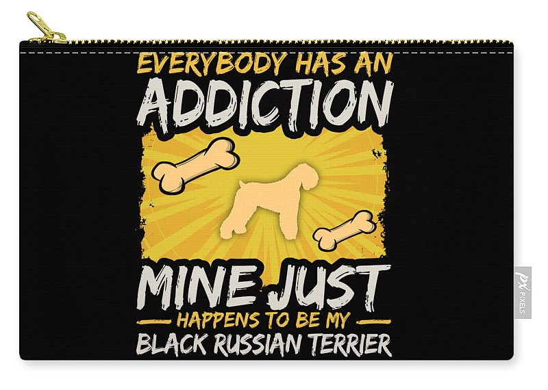 Funny-dog-breed Carry-all Pouch featuring the digital art Black Russian Terrier Funny Dog Addiction by Passion Loft