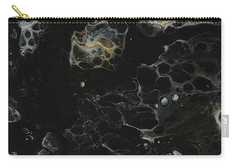 Abstract Art Carry-all Pouch featuring the painting Black, Silver And Gold Abstract by Crazy Gemini Art