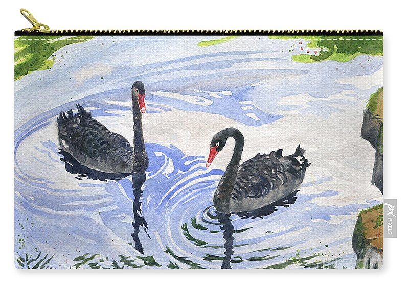 Black-swans Carry-all Pouch featuring the painting Black Swans - Soulmate by Melly Terpening
