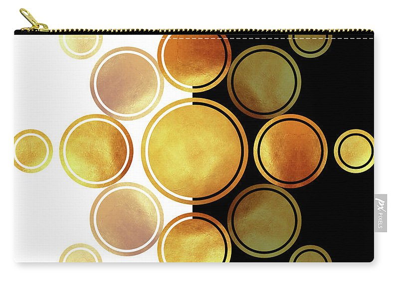 Modern Abstract Carry-all Pouch featuring the mixed media Black, White And Gold Abstract - Modern Geometric Abstract - Pattern Design - Art Deco Abstract 1 by Studio Grafiikka