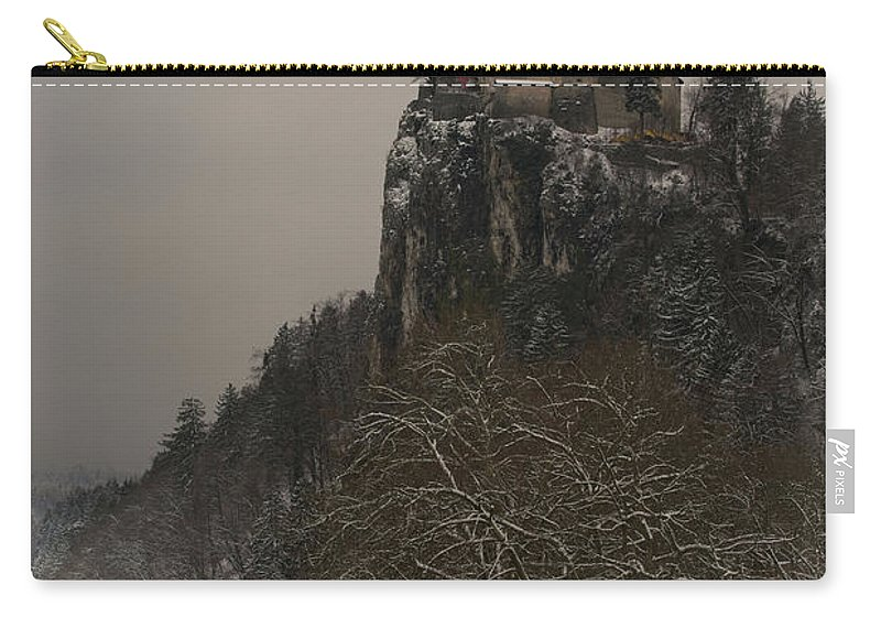 Alpine Carry-all Pouch featuring the photograph Bled Castle by MSVRVisual Rawshutterbug