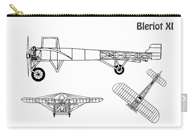 Bleriot Xi Airplane Blueprint  Drawing Plans Or Schematics With Design  Outline For The Bleriot Xi Carry-all Pouch