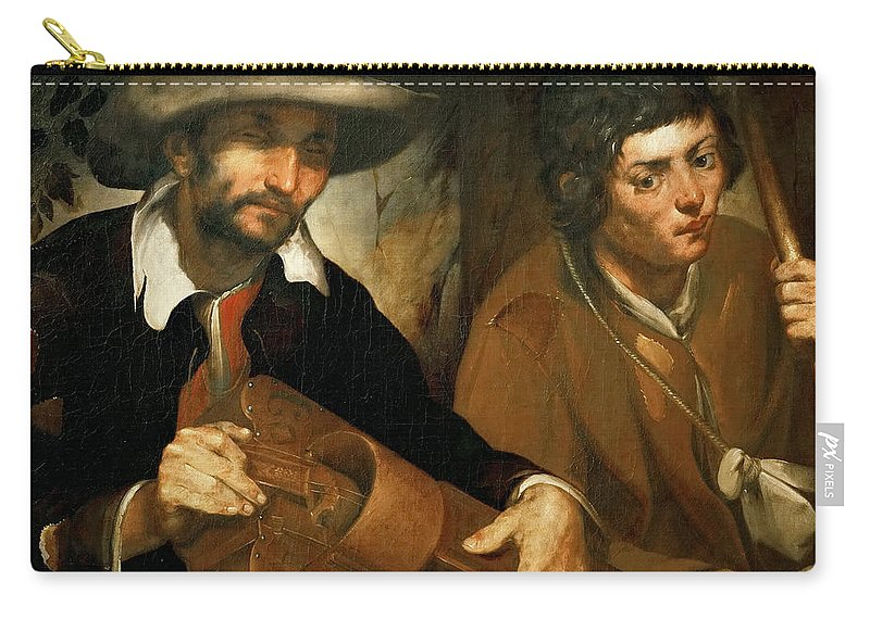 Francisco Herrera The Elder (c. 1576-1656) Carry-all Pouch featuring the painting Blind Organ Grinder by Francisco Herrera the Elder c