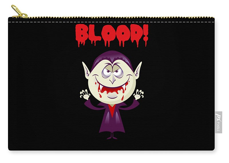 Vampire Carry-all Pouch featuring the digital art Blood Bloody Vampire Halloween by Thomas Larch