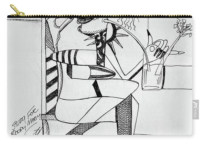 Cubism Carry-all Pouch featuring the drawing Bloody Mary by Anthony Falbo