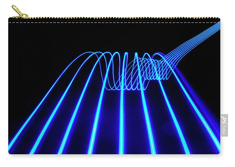 Laser Carry-all Pouch featuring the photograph Blue Abstract Coloured Lights Trails by John Rensten