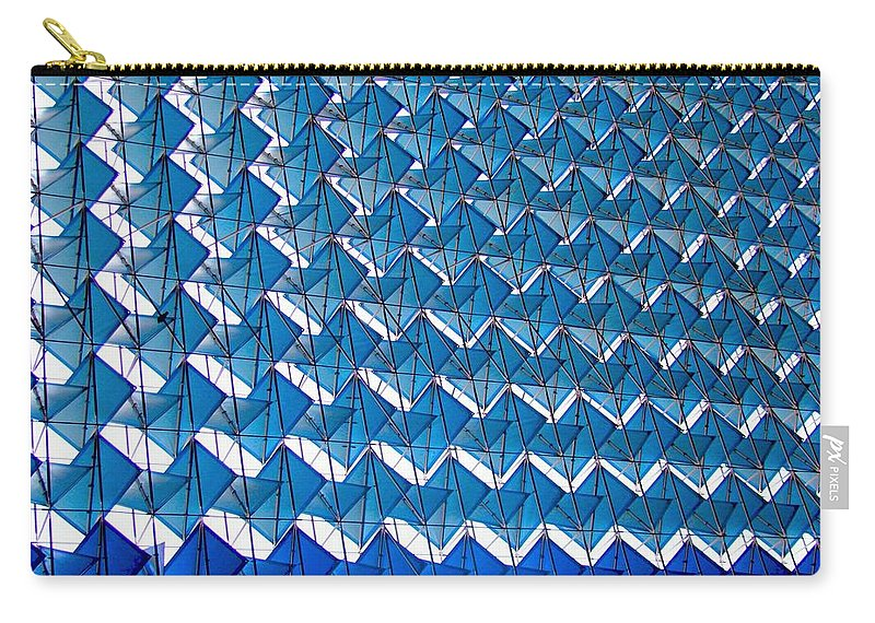 New Delhi Carry-all Pouch featuring the photograph Blue Abstract Structure Of Geometrical by Baxsyl