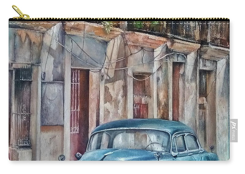 Car Carry-all Pouch featuring the painting Blue car-Old Havana by Tomas Castano