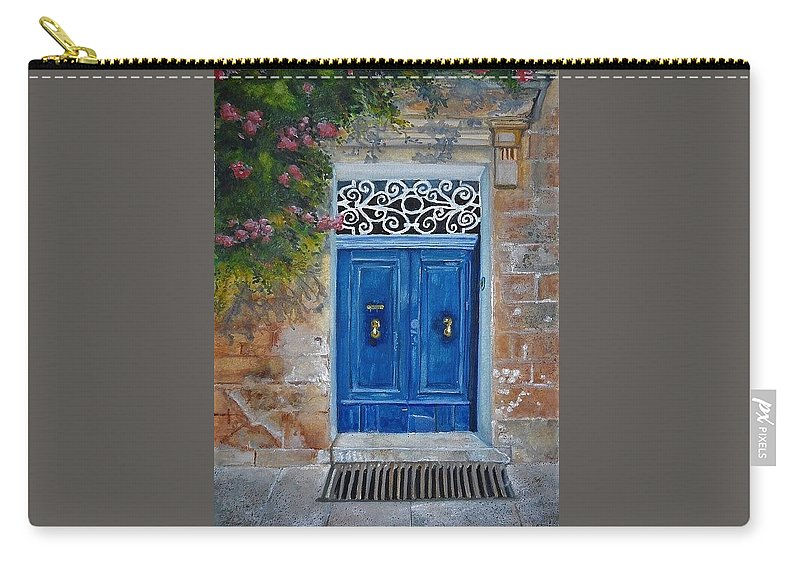 Malta Carry-all Pouch featuring the painting Blue Door Malta by Lisa Cini