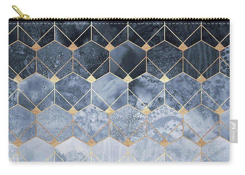 Graphic Carry-all Pouch featuring the digital art Blue Hexagons And Diamonds by Elisabeth Fredriksson