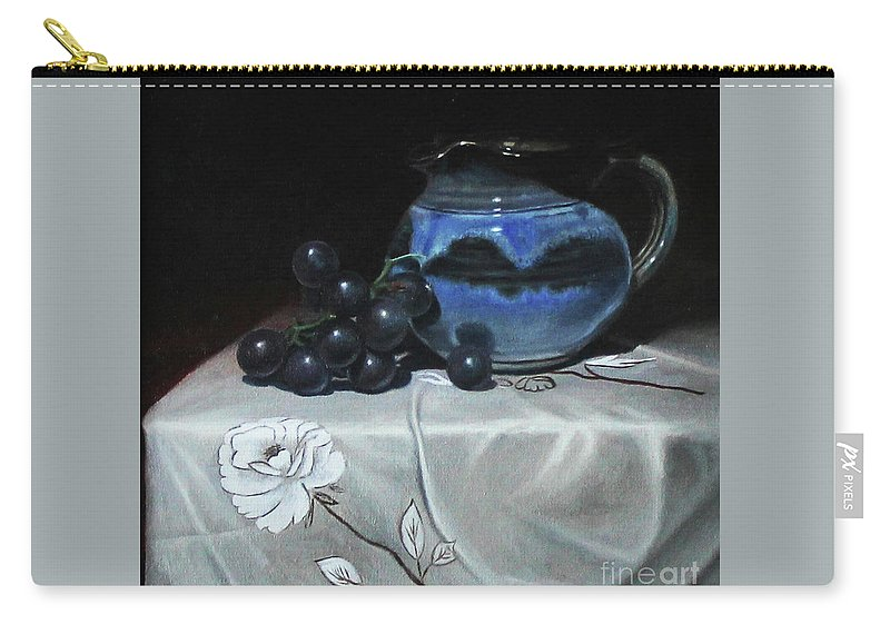 Still Life Carry-all Pouch featuring the painting Blue Jar And Dark Purple Grapes by James Zhao
