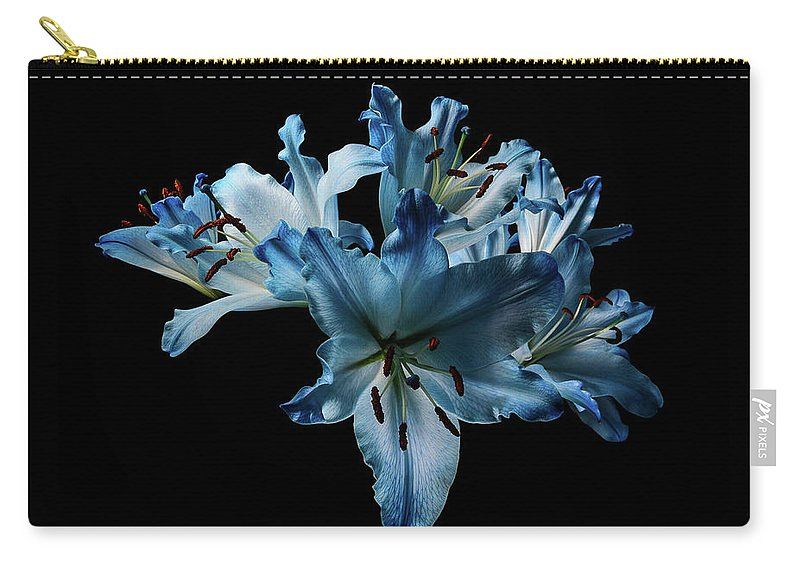 Flowers Carry-all Pouch featuring the photograph Blue Lilies by Wayne Weight
