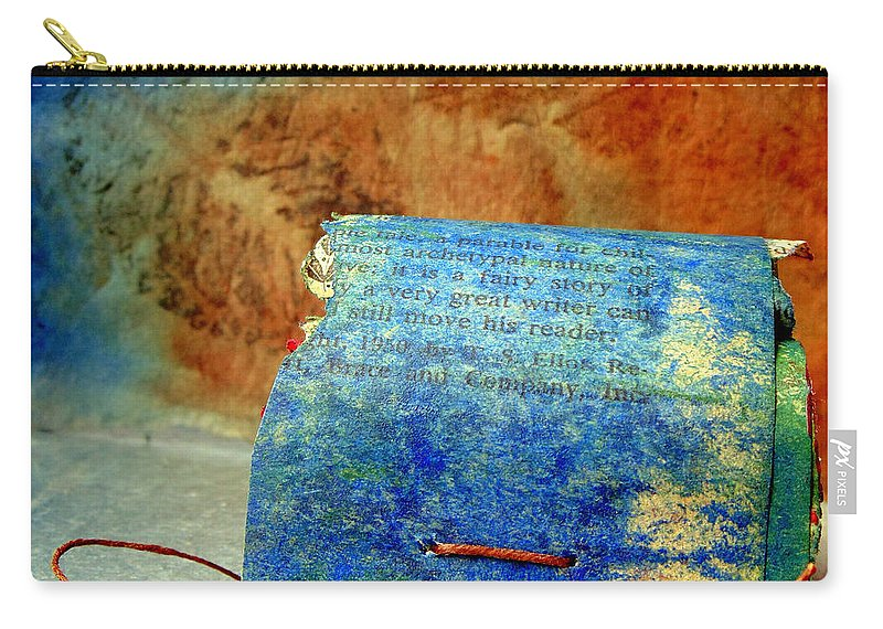 Book Arts Carry-all Pouch featuring the mixed media Blue Signature Altered Book by Sarah Black