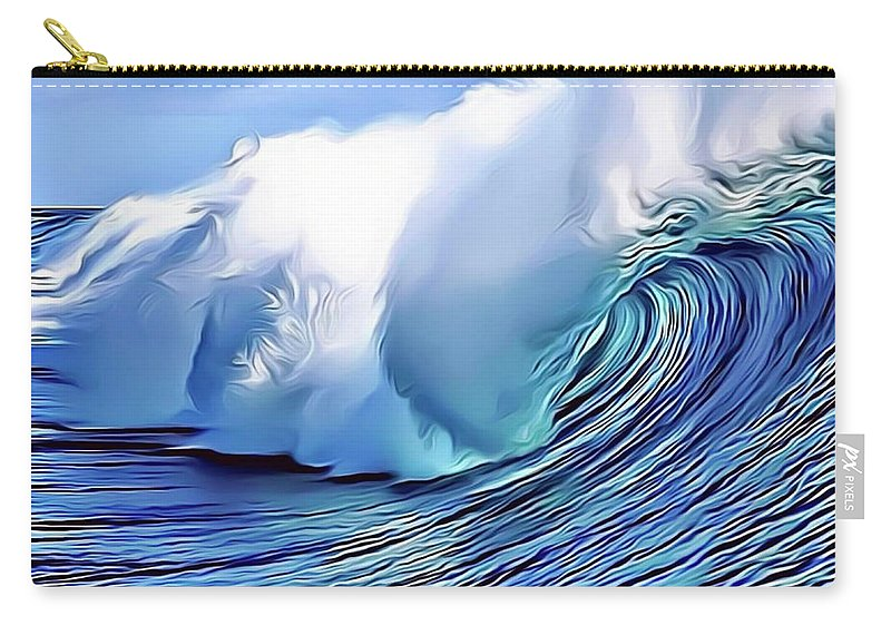 Ocean Carry-all Pouch featuring the digital art Blue Surf by Russ Carts