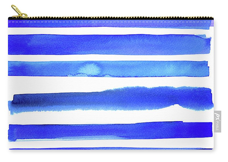 Art Carry-all Pouch featuring the digital art Blue Textured Stripes by Johnwoodcock