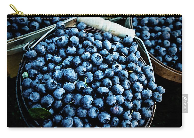 Heap Carry-all Pouch featuring the photograph Blueberries At Farmers Market by Richard Deming Photography