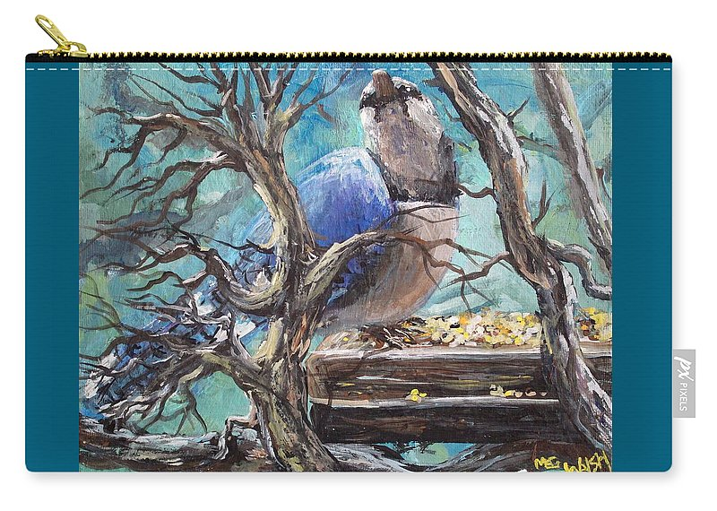 Birds Carry-all Pouch featuring the painting Bluejay by Megan Walsh