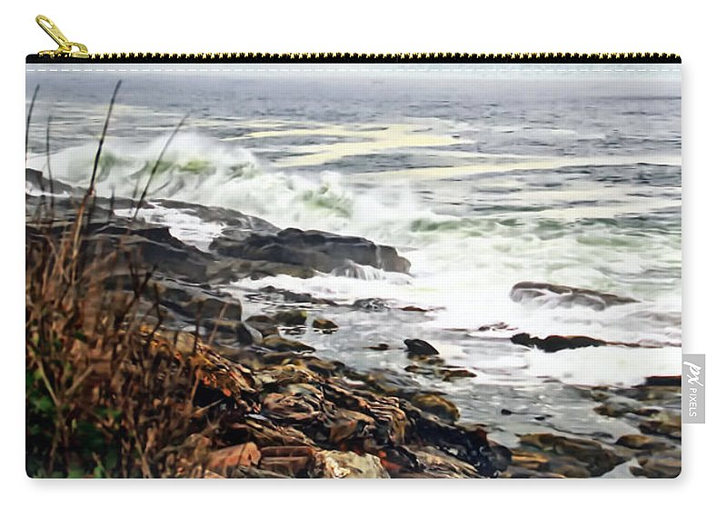 Ocean Photography Carry-all Pouch featuring the photograph Blustry Passion by Catherine Melvin