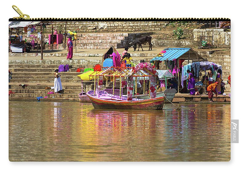 India Carry-all Pouch featuring the photograph Boat And Bank Of The Narmada River, India by Amy Sorvillo