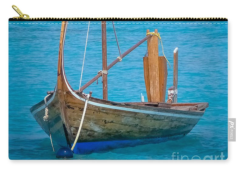 Boat Carry-all Pouch featuring the digital art Boat In The Blue by Eric Nagel