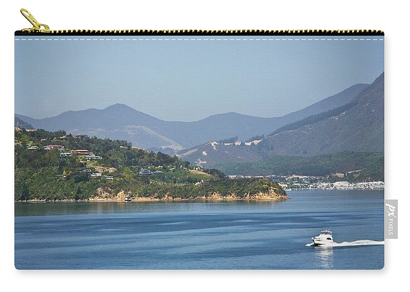 Panoramic Carry-all Pouch featuring the photograph Boat On Water, Queen Charlotte Sound by Design Pics / John Doornkamp