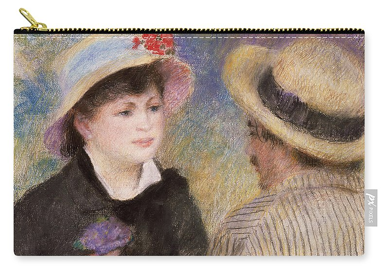 Pierre-auguste Renoir Carry-all Pouch featuring the painting Boating Couple Said To Be Aline Charigot And Renoir   by Pierre Auguste Renoir