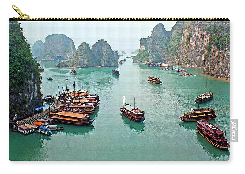Tranquility Carry-all Pouch featuring the photograph Boats Of Halong Bay by Joe Regan