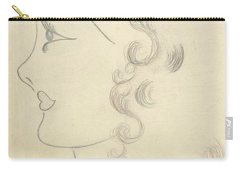 Carry-all Pouch featuring the drawing Bobbie Self Portrait by Barbara Martin