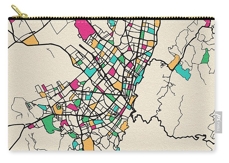 Bogota, Colombia City Map Carry-all Pouch