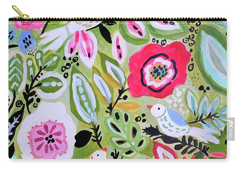 Birds Carry-all Pouch featuring the painting Bohemian Bird Garden by Karen Fields