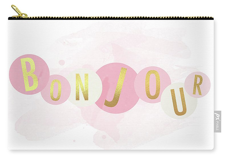 Bonjour Carry-all Pouch featuring the mixed media Bonjour by Sundance Q