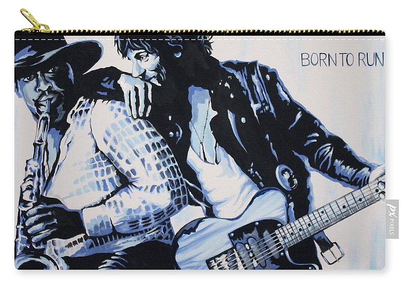 Bruce Springsteen Carry-all Pouch featuring the painting Born to Run Bruce Springsteen by Amy Belonio