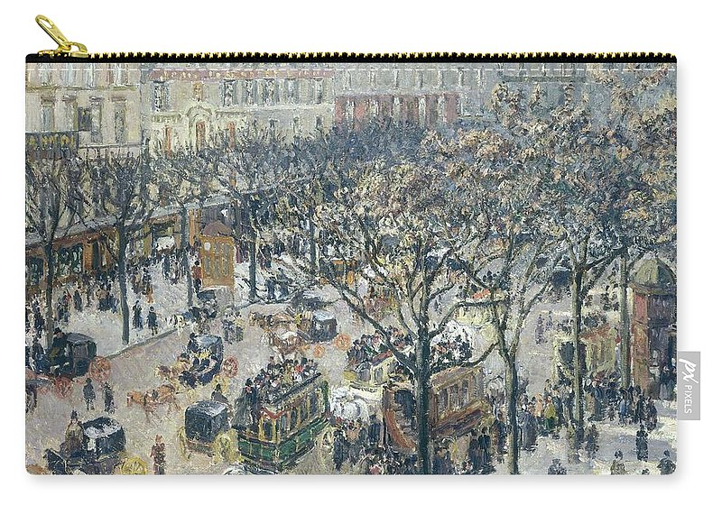 Camille Pissarro Carry-all Pouch featuring the painting Boulevard Des Italiens - Morning, Sunlight, 1897 by Camille Pissarro
