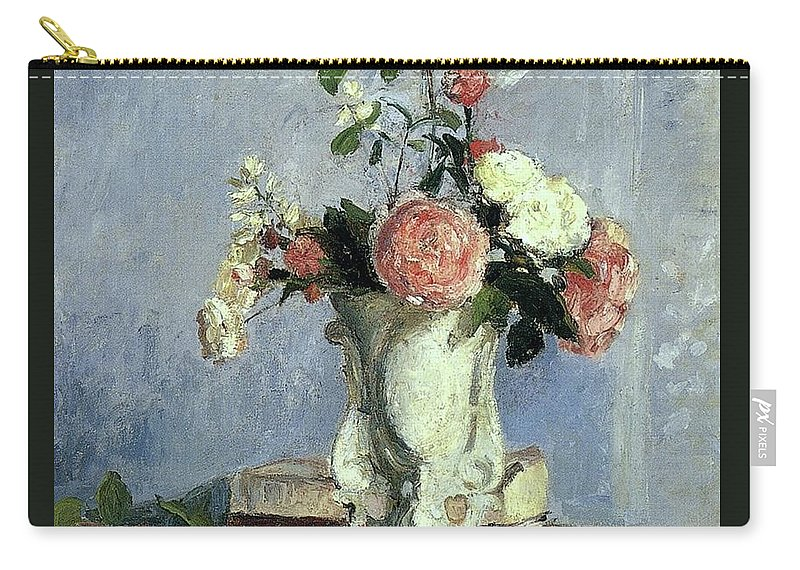 Camille Pissarro Carry-all Pouch featuring the painting Bouquet Of Flowers by Camille Pissarro