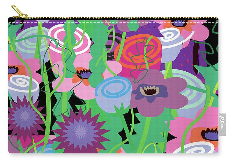 Black Background Carry-all Pouch featuring the digital art Bouquet Of Flowers by Charles Harker