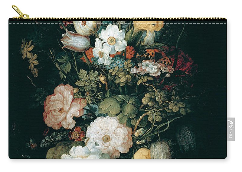 Roelant Savery Carry-all Pouch featuring the painting Bouquet Of Flowers The So Called Liechtenstein Bouquet    by Roelant Savery