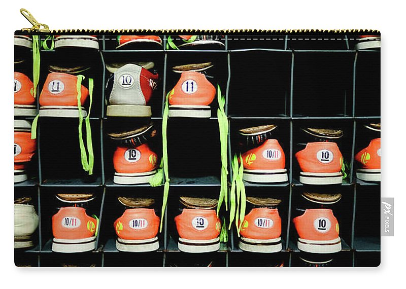 Orange Color Carry-all Pouch featuring the photograph Bowling Shoes by Christian Bird