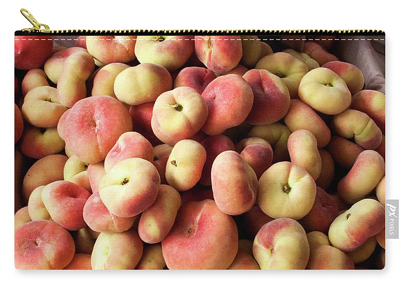 Retail Carry-all Pouch featuring the photograph Box Of Donut Peaches At A Farmers Market by Bill Boch