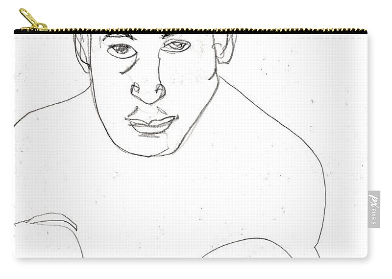 Boxer Carry-all Pouch featuring the drawing Boxer by Artist Dot