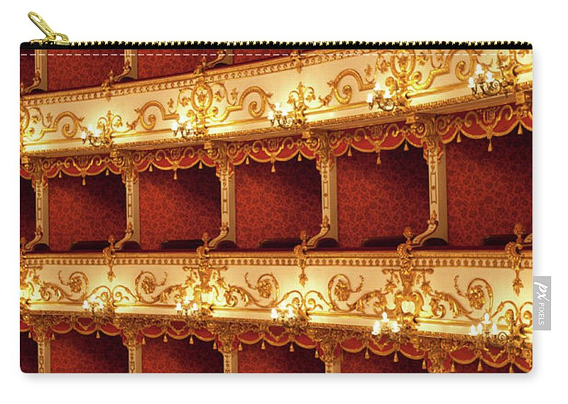 Event Carry-all Pouch featuring the photograph Boxes Of Italian Antique Theater by Naphtalina