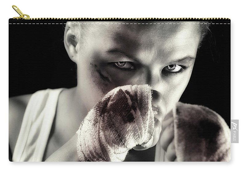 Toughness Carry-all Pouch featuring the photograph Boxing Girl by ...