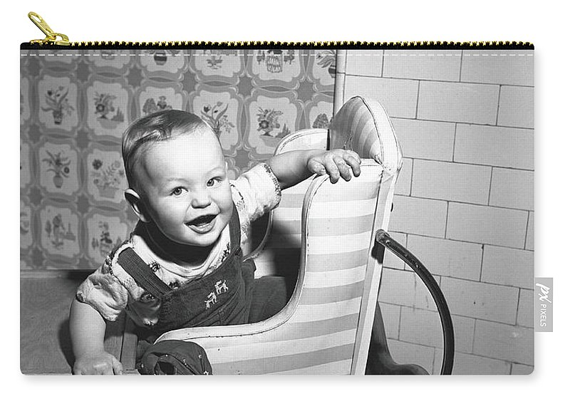 Child Carry-all Pouch featuring the photograph Boy 2-3 Sitting In High Chair, B&w by George Marks