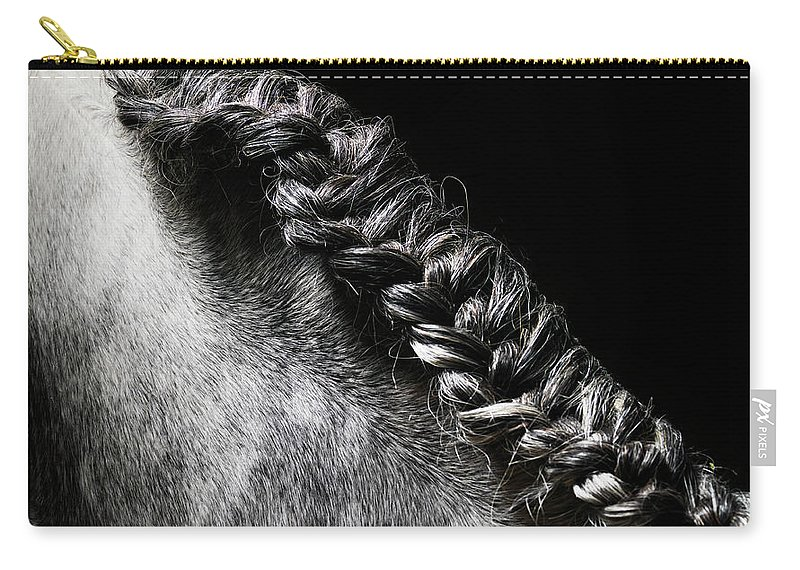 Horse Carry-all Pouch featuring the photograph Braided Mane Of Grey Horse by Henrik Sorensen