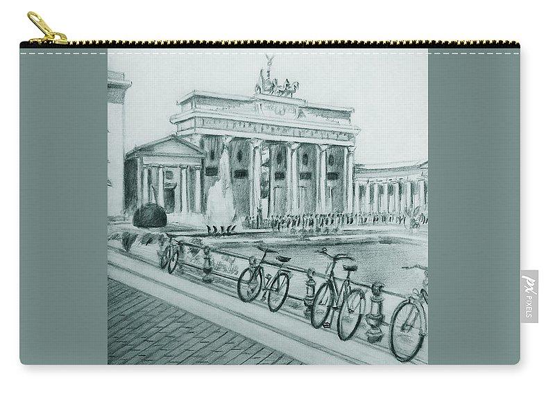 Brandenburg Gate Carry-all Pouch featuring the drawing Brandenburg Gate - Berlin by Mohammad Hayssam Kattaa