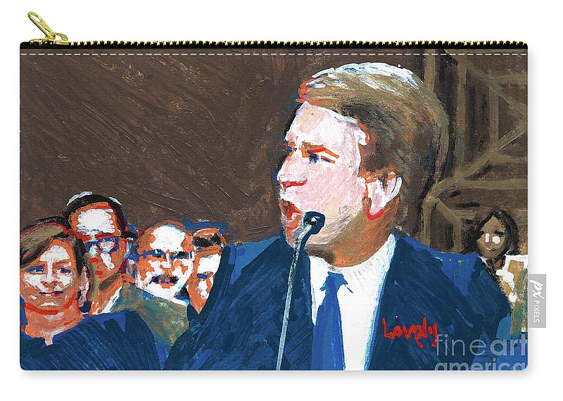 Christine Blasey Ford Testifies Before Senate Carry-all Pouch featuring the painting Brett Kavanaugh Testifies Before Senate by Candace Lovely