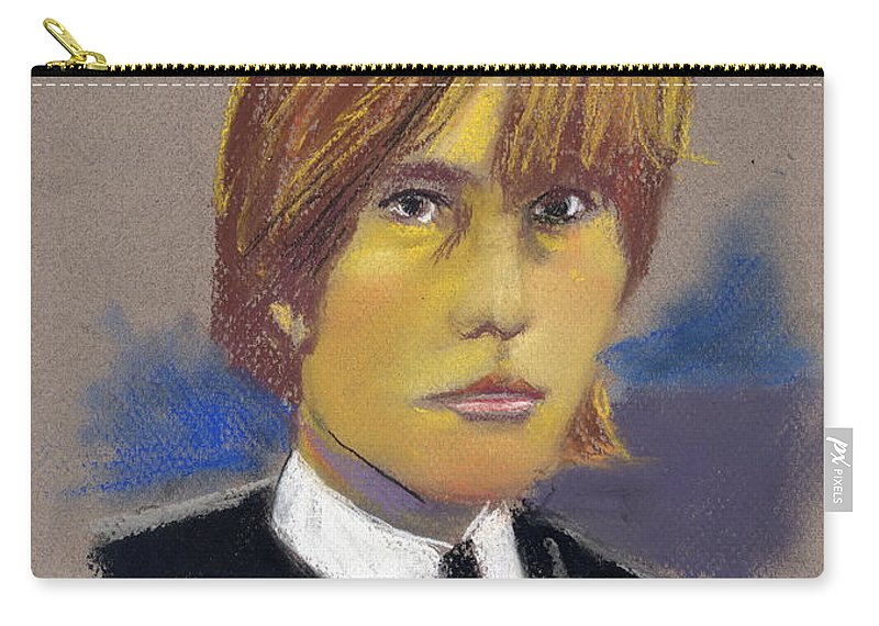 Portrait Carry-all Pouch featuring the pastel Brian Jones by Jack Goldman