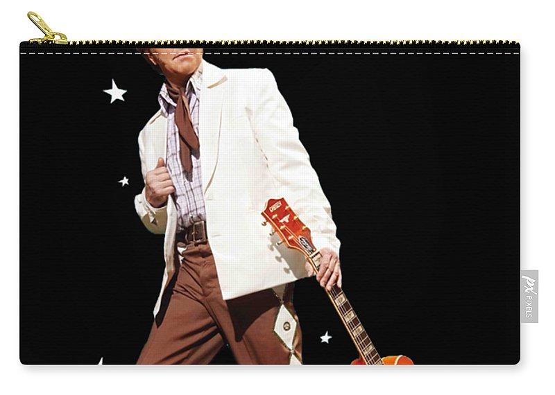 Brian Setzer Christmas Rock 15th 2018 Ajadcode11 Carry-all Pouch featuring the digital art Brian Setzer Christmas Rock 15th 2018 Ajadcode11 by Ajad Setiawan