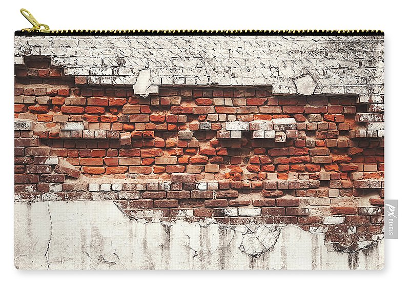 Tranquility Carry-all Pouch featuring the photograph Brick Wall Falling Apart by Ty Alexander Photography
