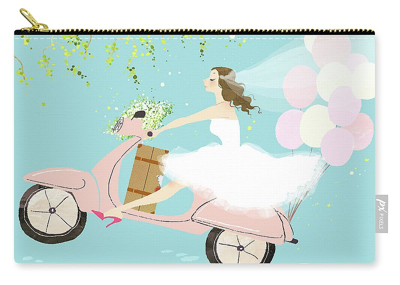 People Carry-all Pouch featuring the digital art Bride On Scooter by Eastnine Inc.